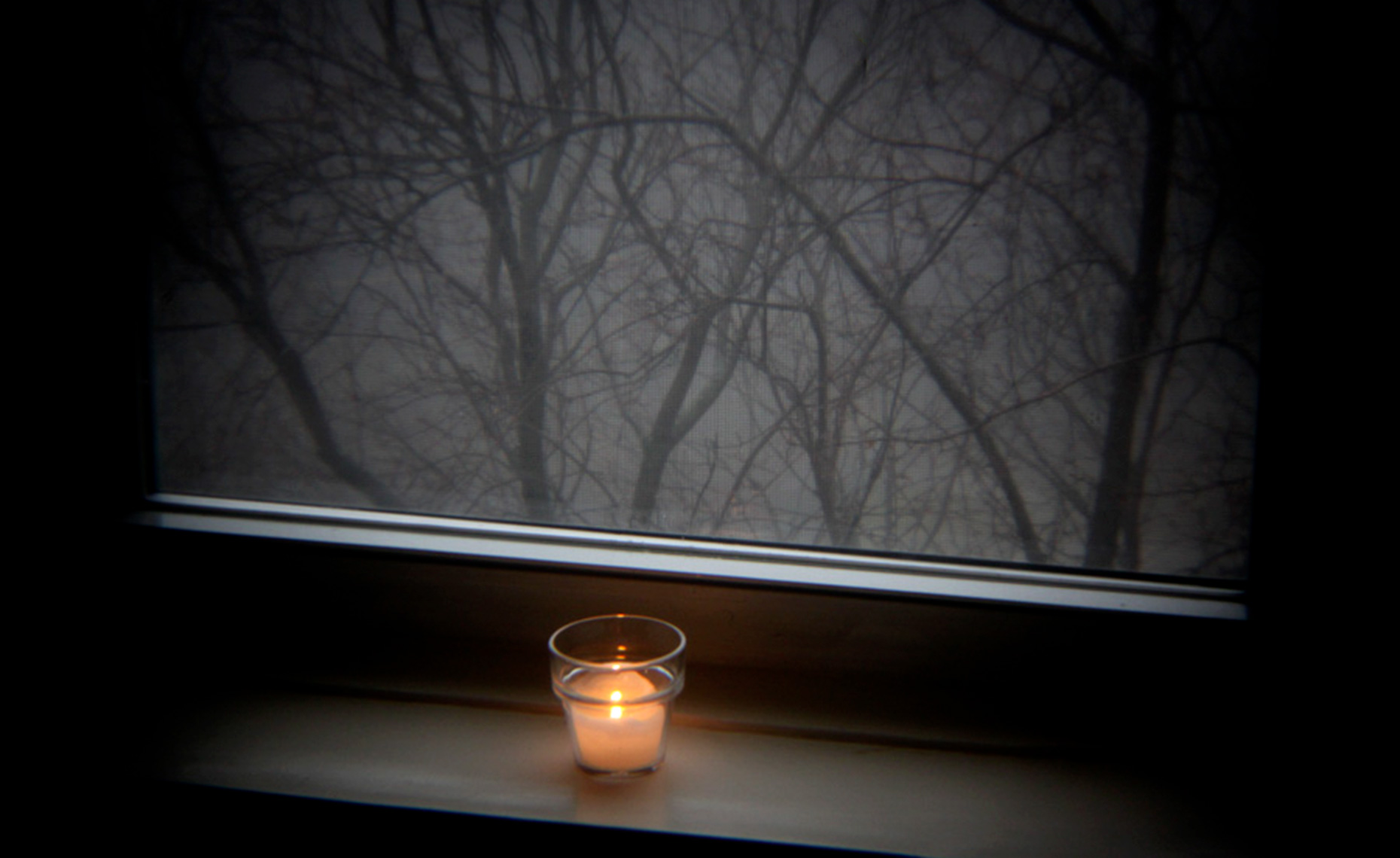 candle on windowsill